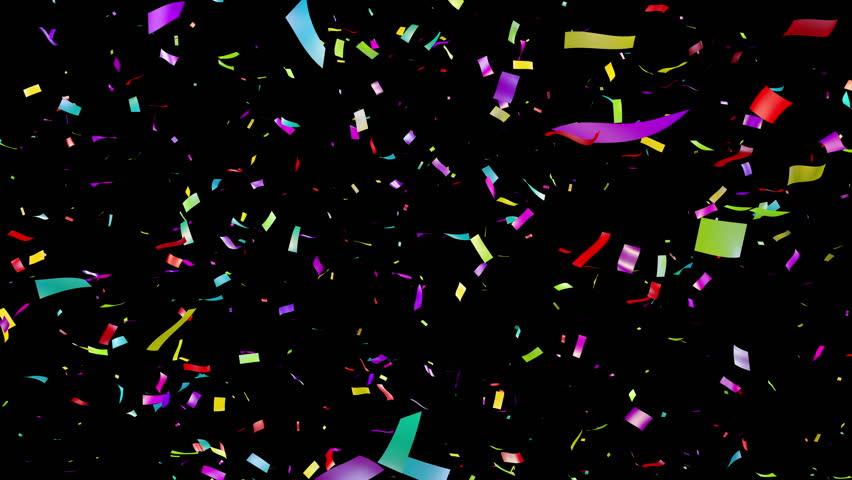 Falling Multicolored Confetti Over Black Stock Footage