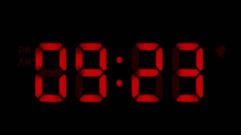 Digital clock with 12 hours, you can choose any hour or minute. Black background. 1 frame per minute. Loopable. Red. More options in my portfolio.