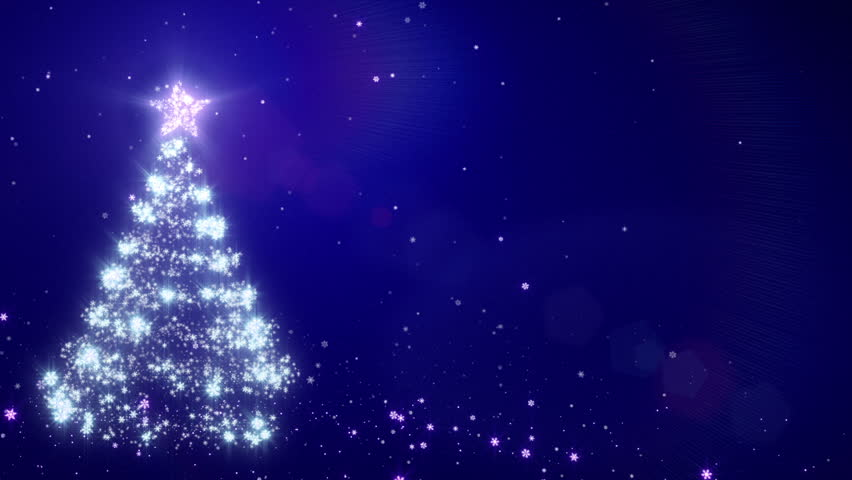Christmas background with bright snow. Blue. Bright snowflakes falling forming a Christmas tree. Loopable from frame 391 to the end. With space for your text.