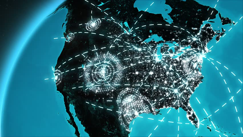 World connections with city lights blue and black world map world connections with city lights blue and black world map spinning earth with light lines growing from major cities all over the world loopable gumiabroncs Image collections