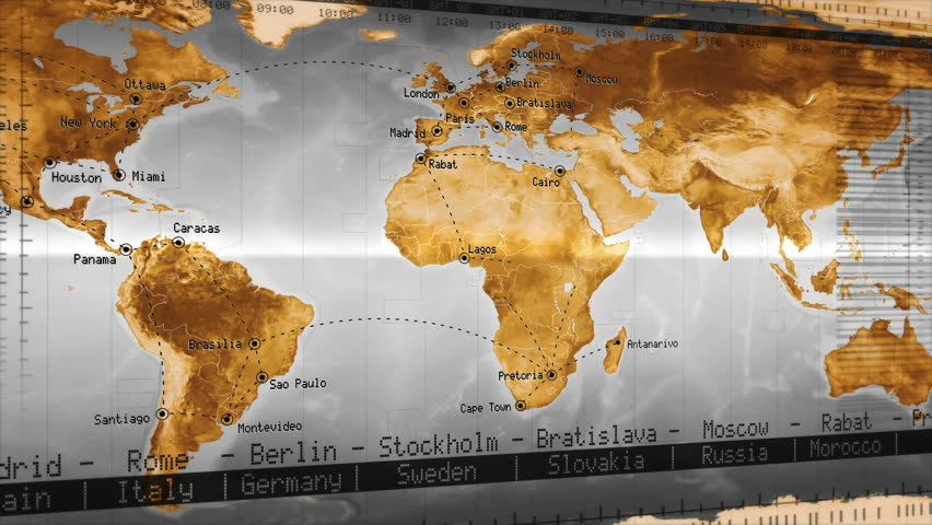 Digital world atlas series 3 version from 1 to 6 stock world map showing well known cities and times zones with connections orange loopable gumiabroncs Images