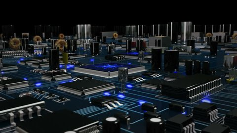 Flying over a futuristic circuit board with moving electrons ending on the CPU. Blue. Technology background. This video is loopable from frame 588 to 851. More options in my portfolio.
