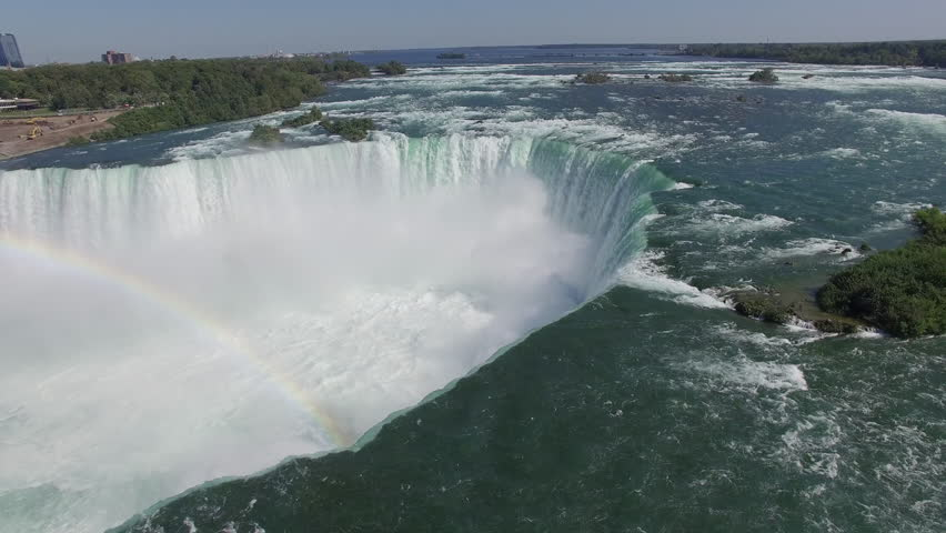 Aerial view of North America's Magnificent Niagara Falls on the border of Canada and the United States