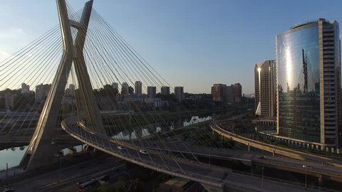 Aerial view of Sao Paulo bridge located in Marginal Pinheiros in Sao Paulo, Brazil