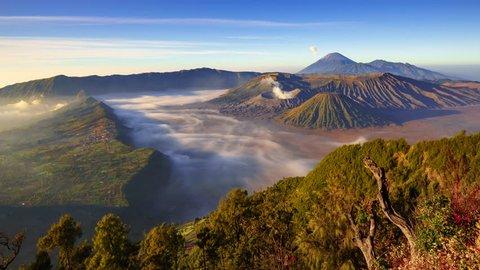 4K Timelapse of Bromo volcano at sunrise,Tengger Semeru national park, East Java, Indonesia