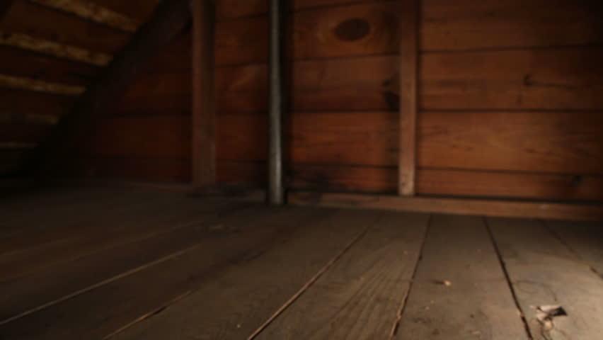 Attic Corner Blur. camera dollies left in slow motion. focus on foreground and wood beam. empty attic corner