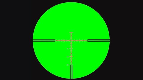 Sniper scope or optical sight on green screen.