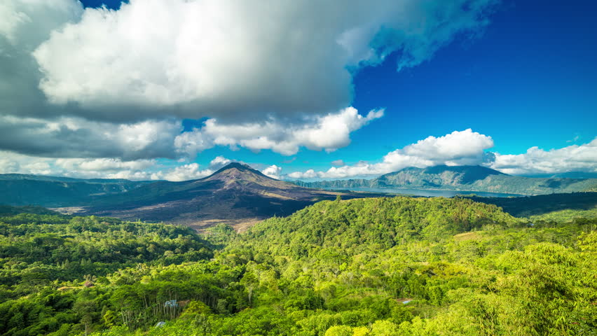 4K Timelapse. Panoramic views of volcano Gunung Batur. 15 July 2015, Bali, Indonesia | Shutterstock HD Video #11857598
