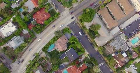 Top aerial view of residential neighborhood in Hollywood, Los Angeles, California. 4K UHD.