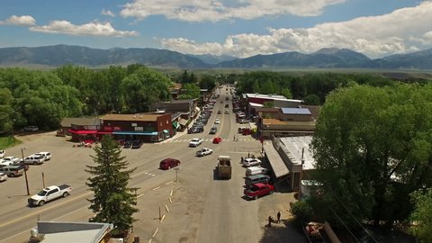 Aerial video of Ennis Montana. Small town outside of Yellowstone