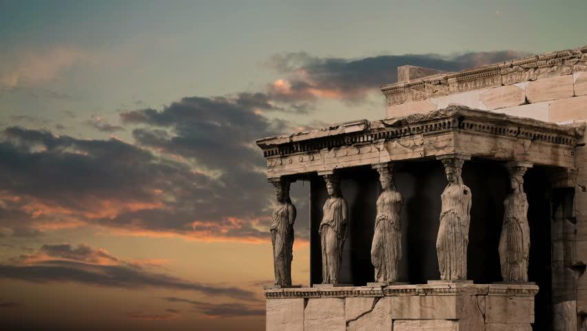 Caryatides, Erehtheio, Acropolis Timelapse - Athens, Greece, under sunset clouds