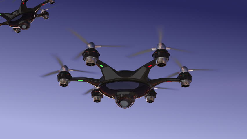 Drone with surveillance camera flying in night sky. Security system concept.