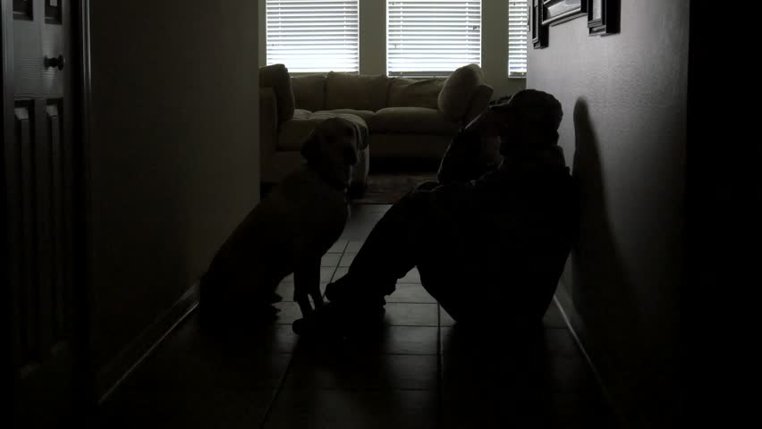 A soldier's dog comforts him during depression, 4K