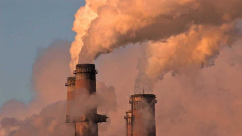 Pollution, smoke and steam discharged from a coal powered electrical generation facility in New Mexico. Contamination, pollution causing global warming and climate change.  | Shutterstock HD Video #119689