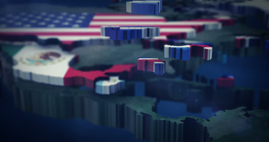 4K North America flag map 3X10 Seconds Inserts with depth of field focus