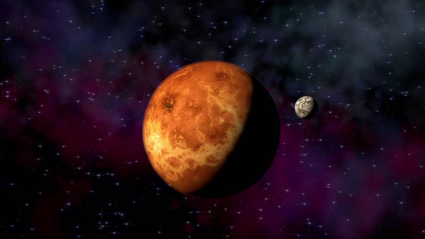 Planet venus on a beautiful starry background orbiting around the planets and spaceships hd stock footage clip voltagebd Choice Image