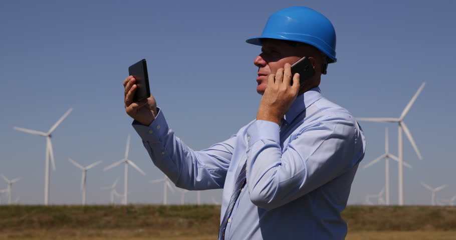 Wind Turbine Electricity Technician Phone Talk Issues Use Touch Tablet Internet ( Ultra High Definition, UltraHD, Ultra HD, UHD, 4K, 2160P, 4096x2160 )