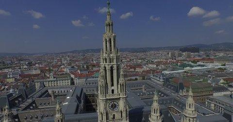 Rathaus Vienna - Town Hall & Rathauspark. Aerial View  The present Vienna City Hall in Austria. Drone footage. 4K