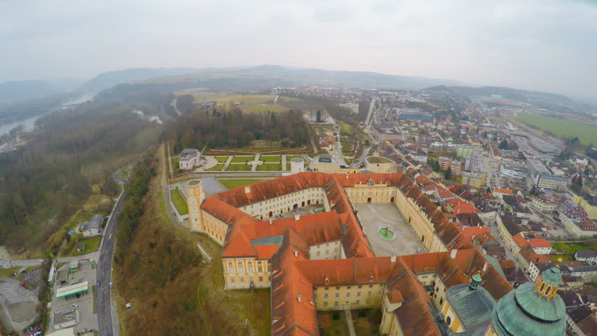 Aerial view of town Melk in Austria. Famous Melk Abbey on the River Danube