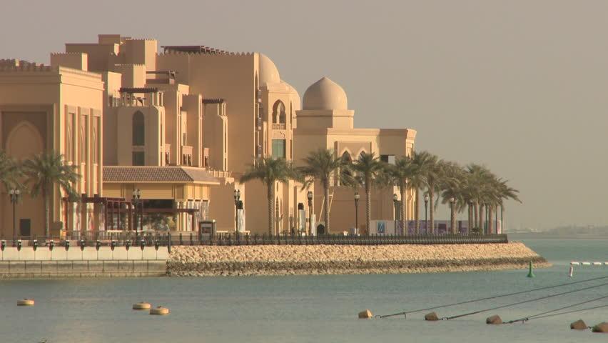 Views of buildings in the Pearl Marina development Doha Qatar | Shutterstock HD Video #12017663