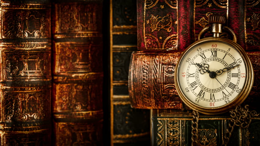 Vintage magnifying glass compass telescope and a pocket watch vintage antique pocket watch against the background of old books 4k stock video clip gumiabroncs Choice Image