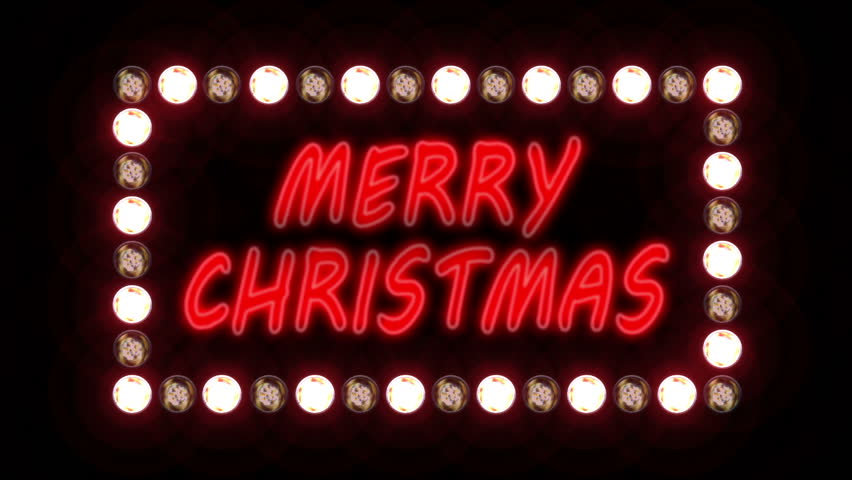 Merry Christmas neon sign surrounded by flashing lights on a black background. Looping video, contains alpha mask.