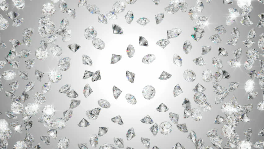 Diamonds scattering or flying away over studio light background