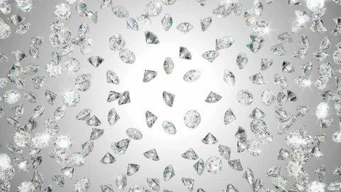 Diamonds scattering or flying away over studio light background
