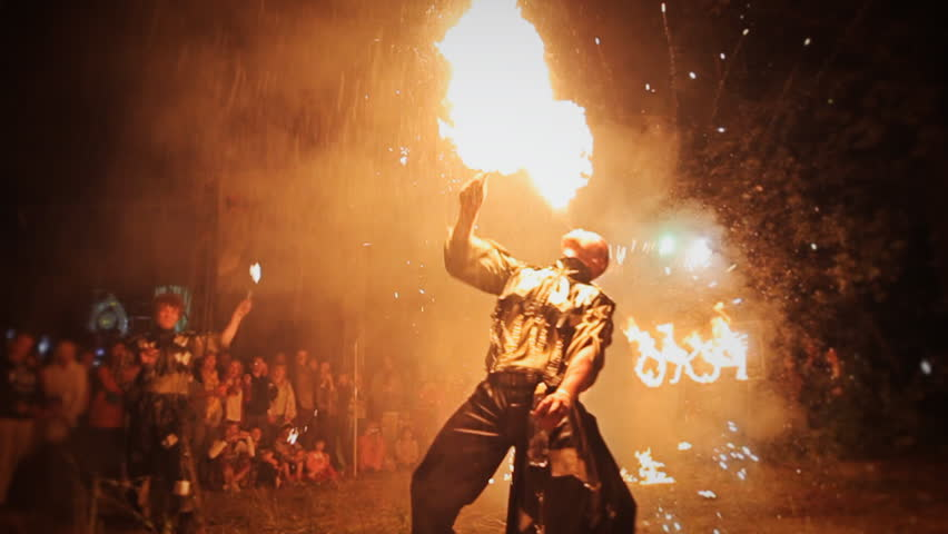 "RUSSIA, SAMARA, JULY 28, 2015: Fire show at the festival ""Protoka 2015"""