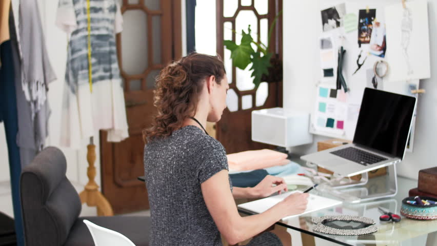 Work From Home Fashion Dress Designer At Desk With Husband ...