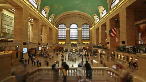 Time lapse of crowds of people in Grand Central Station. New York.