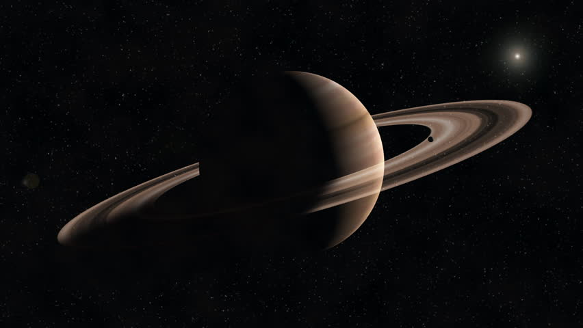 Saturn with Rings in space and Sun off in background in starry sky - stars on black with slow zoom into beautiful planet in solar system #12140687