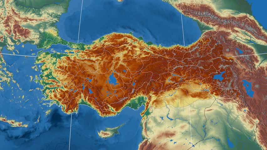 Izmir region extruded on the physical map of Turkey. Rivers and lakes shapes added. Colored elevation data used. Elements of this image furnished by NASA.