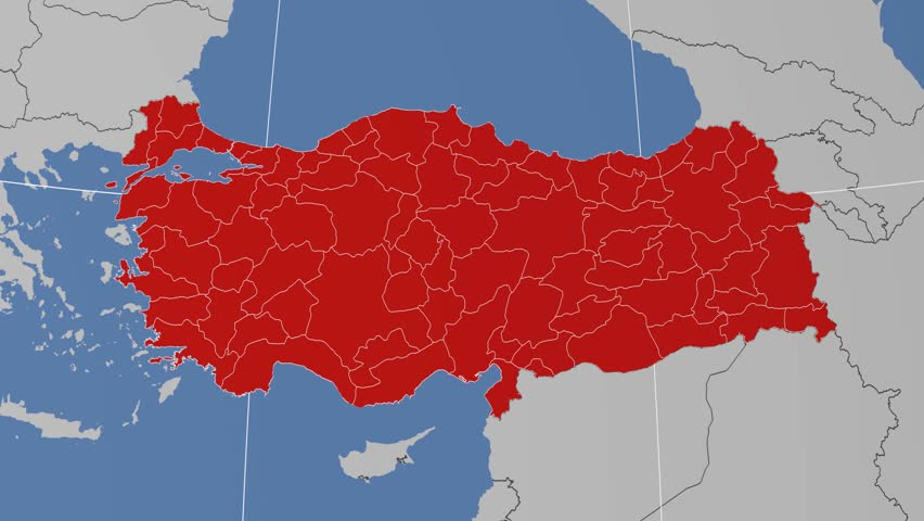 Osmaniye Region Extruded On The Administrative Map Of Turkey Solid