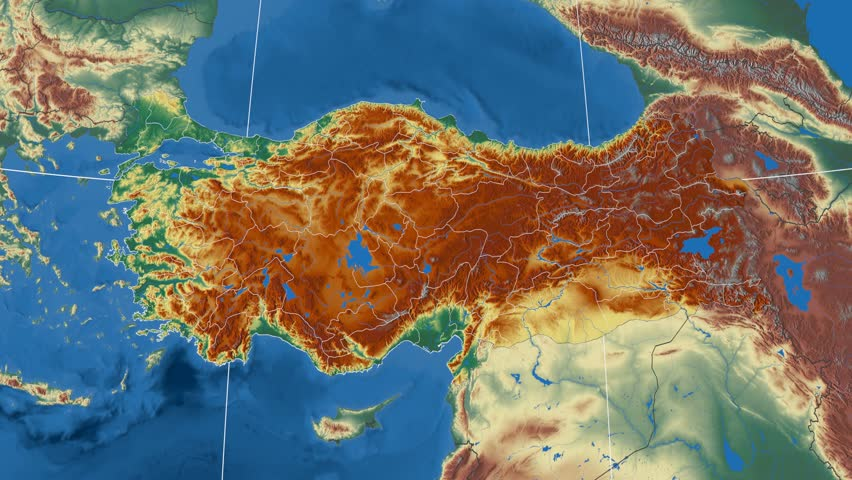 Gaziantep Region Extruded On The Physical Map Of Turkey Rivers And