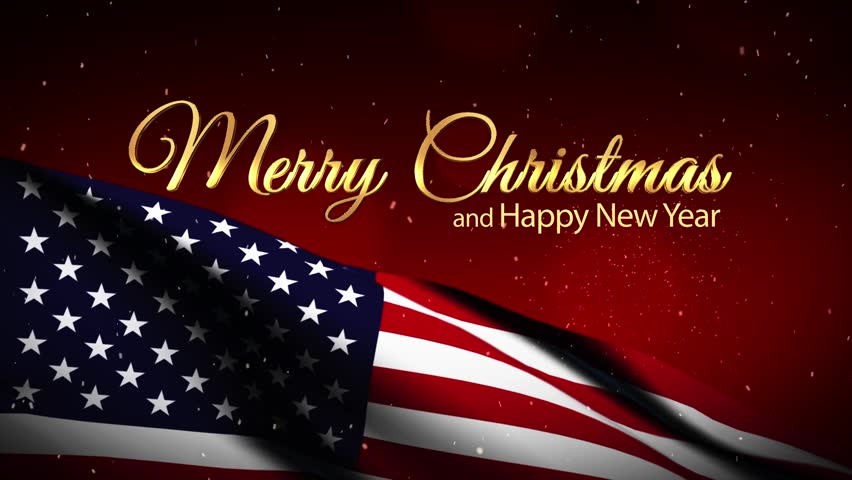 USA Flag Merry Christmas And New Year. For Auld Lang Syne Stock ...