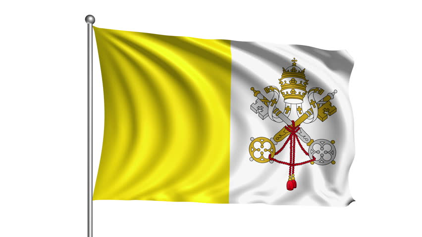 Vatican City Flag With Fabric Stock Footage Video (100