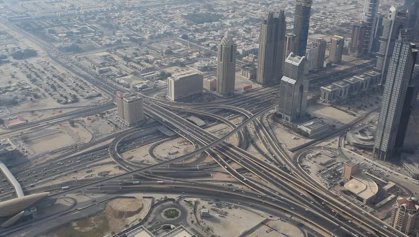 Aerial view of a highway junction in Dubai, United Arab Emirates
