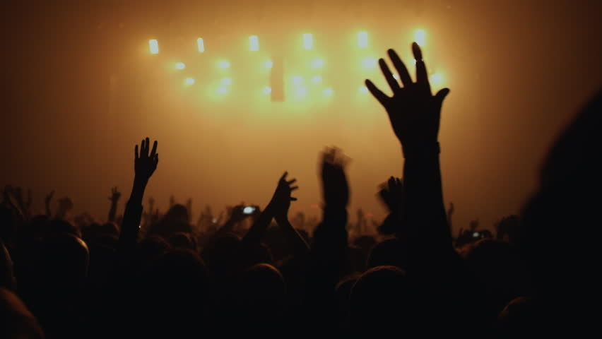 Fans waving their hands and hold the phone with digital displays the crowd at a rock concert.Here is  footage of people crowd partying at a concert or a night club.  | Shutterstock HD Video #12190868