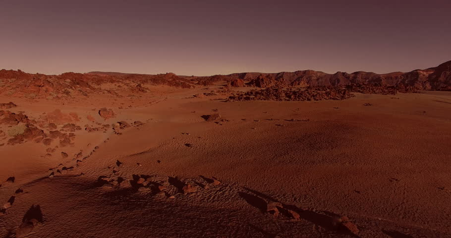 AERIAL flying forward above dramatic surface of planet Mars (artistic rendering) | Shutterstock HD Video #12195764