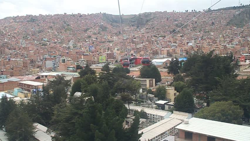LA PAZ, BOLIVIA - 2013: La Paz Walking Up Street Near