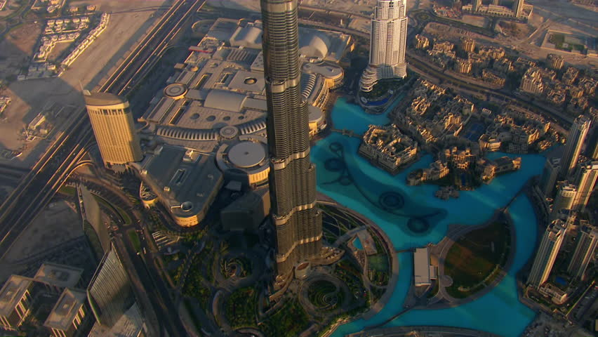 WS TU AERIAL View over burj khalifa hotel / Dubai, United Arab Emirates | Shutterstock HD Video #12212738