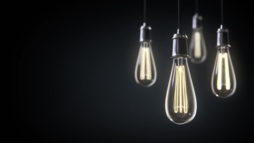 Group of vintage bulb lights 3d animation. Lights is turned on.