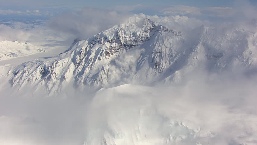 WS AERIAL ZI ZO View of avalanche on Tordrillo snowy mountain range / Alaska, United States | Shutterstock HD Video #12214739