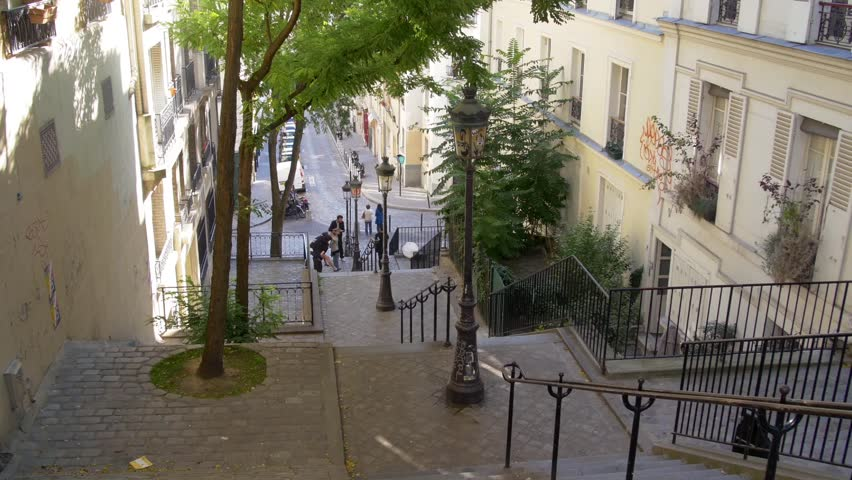 Paris, typical climbing lane with stairs in the hill of Montmartre | Shutterstock HD Video #12227078