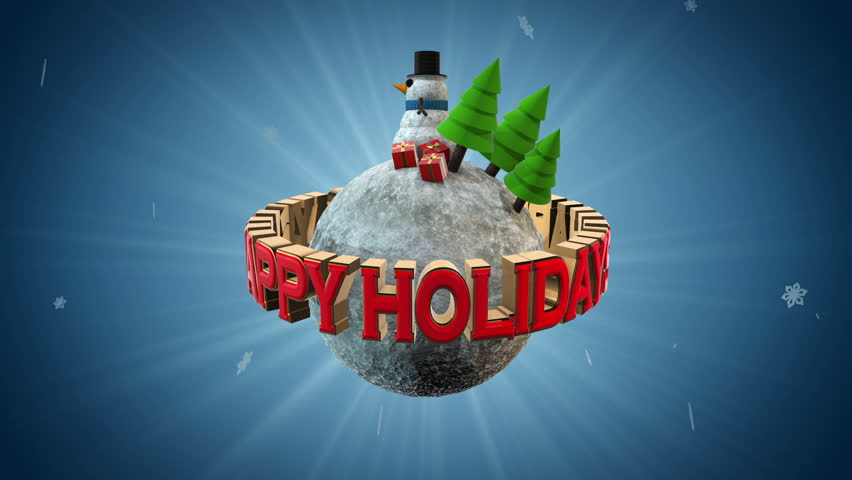 Happy Holidays - Snowman, Christmas trees and presents on a tiny snow world.