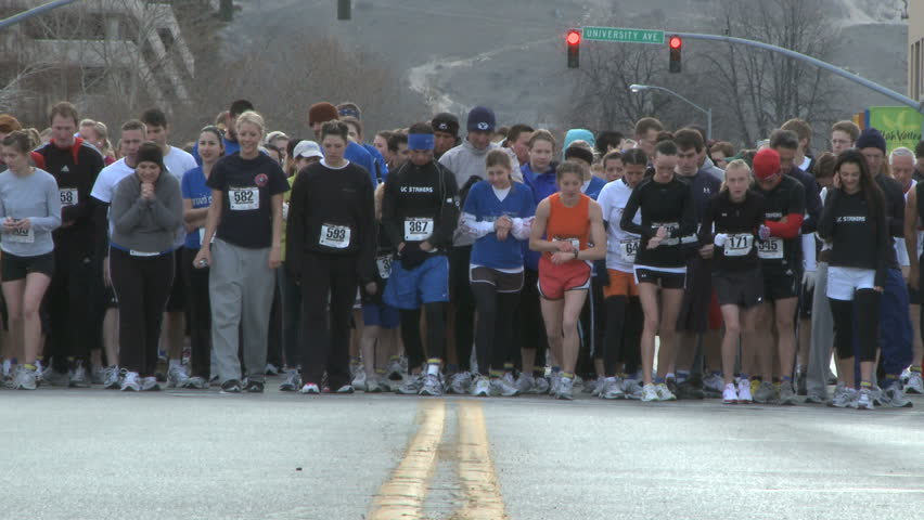 Provo, Utah-United States - February 2009: runners at the start of a marathon