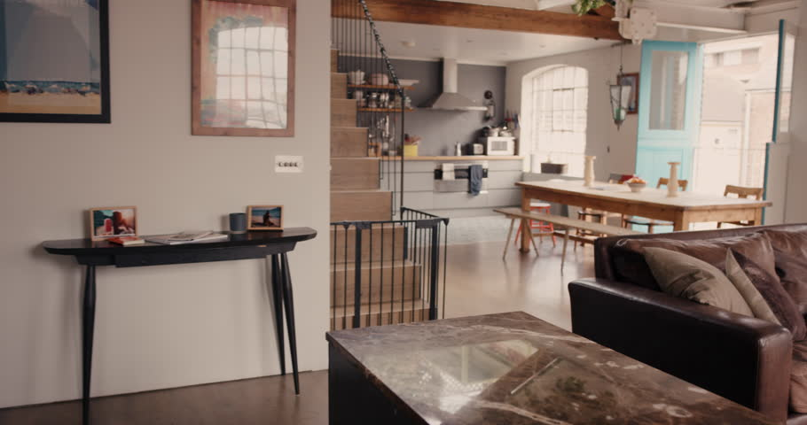 Home Interior Walk Through From Living Room Into Kitchen Warehouse  Conversion Empty Space Modern Apartment