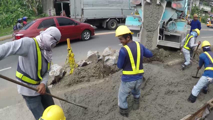 san pablo city laguna philippines october 5 2015 construction worker team paving - Construction Laborer