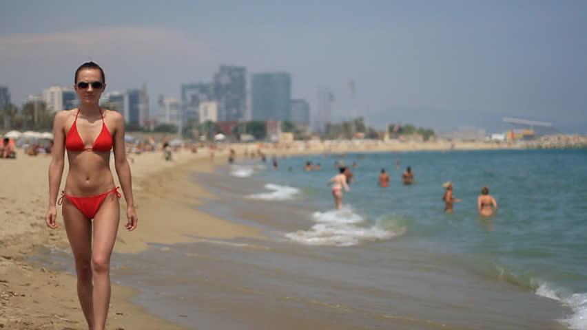 Sexy Girl In Thong Bikini Walking On The Beach, Camera Stabilizer Shot, Slow Motion -4212